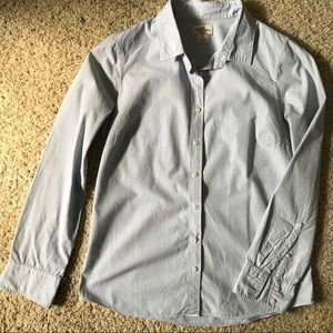 White and blue striped J crew perfect shirt